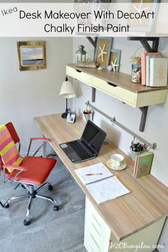 Ikea desk makeover with faux wood grain top using DecoArt Chalky Finish Paint -H2OBungalow #tutorial #paintedfurniture