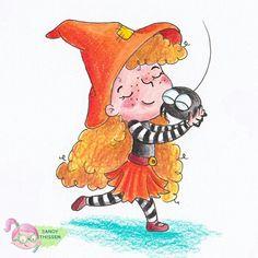 Kleine Hexe mit Spinne Illustration von Sandy Thissen #hexe #zeichnung