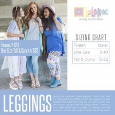 LuLaRoe Leggings Size Chart https://www.facebook.com/groups/LuLaRoeElizabethColeVIPs/ #lularoeleggings