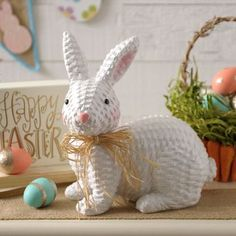 Let this Faux Wicker Bunny Statue hop off your Easter table and into your heart. Its sweet design will make a simple, precious addition to your Easter decor. Willow Weaving, Basket Weaving, Fun Crafts, Arts And Crafts, Painted Wicker, Newspaper Crafts, Hoppy Easter, Xmas Gifts, Bunny