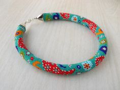 READY TO SHIP Bead Crochet Necklace Paisley Bead by LGreenBeads, $63.00