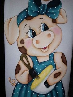 Cow Painting, Fabric Painting, Diy And Crafts, Paper Crafts, Tole Painting Patterns, Pig Art, Cute Piggies, Country Paintings, Kids Cards