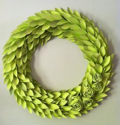 modern holiday wreath  lime painted newspaper  by weirdlittleworld, $65.00