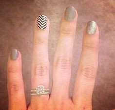Neutral Nails with one chevron nail