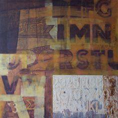 Mappatura delle terre gialle. Tecnica mista su tela applicata su tavola, cm. 120x120