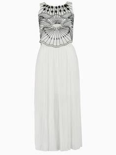 White Embroidery Beaded Sleeveless MaxiDress | Choies