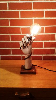 Wooden Hand Lamp w/ Edison Style Bulb, Steampunk, Repurposed, Recycled, Industrial