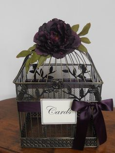 Birdcage Wedding Card Holder  / Eggplant/Plum Color by TheLaceMoon