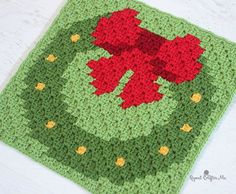 Crochet Wreath Pixel Square - Repeat Crafter Me