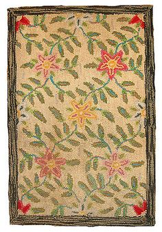 Hand made antique American floral hooked rug 2' x 3' 1920