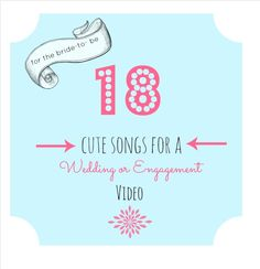 18 song ideas for a wedding or engagement video Wedding Album, Wedding Day, Cute Songs, Super Secret, Marry Me, Happily Ever After, Videography, Dream Big, Big Day