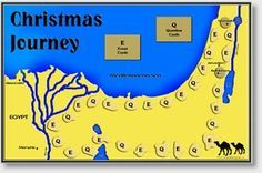 Travel with Mary, Joseph and baby Jesus as they journey to Bethlehem and Egypt… Christmas Sunday School Lessons, Sunday School Crafts, School Fun, School Ideas, Bible Games, Bible Activities, Map Games, Church Activities, Christmas Activities
