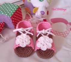 Pink Baby Girl Sandals Crochet, handmade baby crochet shoes pink with crocheted white flower and Tan double sole, for Summer on Etsy, $11.13