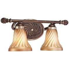 Rich design mixed with elegant details make this bath wall light an unparalleled luxury in decor. Old world patina glass. Style # at Lamps Plus. French Country Lighting, Bathroom Fixtures, Bronze Finish, Old World, Sconces, Home Improvement, Wall Lights, New Homes, Minka