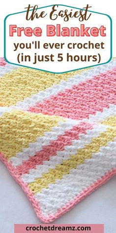 Crochet Stitches For Beginners, Crochet Stitches Patterns, Crochet Baby Blanket Free Pattern, Baby Afghan Crochet Patterns, Crocheted Baby Afghans, Simple Crochet Blanket, Crochet Baby Blanket Beginner, Easy Crochet Baby Blankets, Striped Crochet Blanket