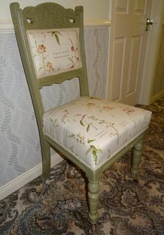 Chair painted in Everlong olive and fully reupholstered.