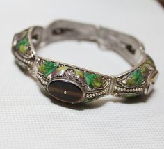 ON SALE Chinese Vintage Bracelet Silver Filigree, Malachite and Enamel 1950's Chinese Jewelry on Etsy, $225.50