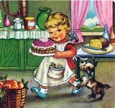 Maria Rosa with Her Cake ~ Maria Pia Franzoni Images Vintage, Vintage Pictures, Vintage Greeting Cards, Vintage Postcards, Birthday Cake Illustration, Cupcake Drawing, Vintage Children, Children Books, Vintage Prints