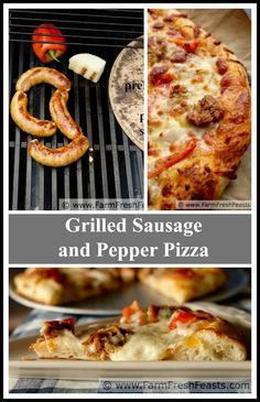 Grilled Sausage and Peppers Pizza--using grilled Italian sausage, peppers, and onion for a family friendly pizza that keeps your house cool. Take the survey and enter to win a LeCreuset Dutch oven Peppers Pizza, Sausage And Peppers, Stuffed Peppers, Cold Vegetable Pizza, Vegetable Pizza Recipes, Sausages In The Oven, Pork Sausages, Grilled Italian Sausage, Pumpkin Seed Recipes