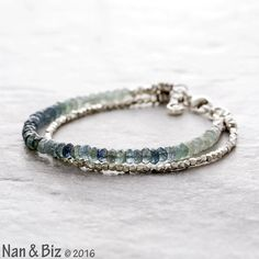 Moss aquamarine bracelet, stormy blue-gray aquamarine, Thai Hill Tribe silver bracelet, skinny stackable bracelet, March birthstone jewelry by NanandBiz
