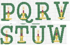 Ponto cruz: alfabeto natalino