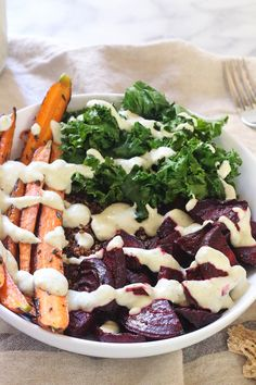 Roasted Beet Hippie Bowls with Horseradish Cream