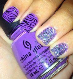 Just the purple Zebra Nails♥ cute mani pedi Fancy Nails, Trendy Nails, Love Nails, How To Do Nails, My Nails, Zebra Nails, Purple Nails, Glitter Nails, Purple Zebra