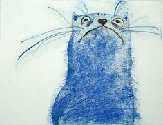 """I love GrazvydaArt's """"Self-satisfied cat"""" ~ a soft-ground etching in an edition of 100... http://www.etsy.com/listing/61898651/the-cat-original-etching-cobalt-blue"""