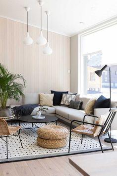 Tämä on Avotakan suosikkitalo asuntomessuilla   Meillä kotona Living Room Lounge, Home Living Room, White Wood, Boho Decor, Architecture Design, Outdoor Furniture Sets, House Design, Interior Design, Inspiration