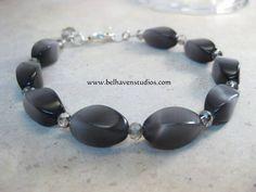 www.belhavenstudios.com Faceted crystals, twisted oval glass beads sterling silver bracelet