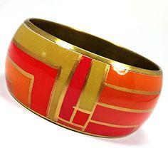 Art Deco Bangle Bracelet Geometric Coral Pink Orange Gold Tone Wide Retro b255