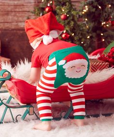 Look at this Doodle Pants Red & Green Stripe Santa Leggings - Infant on #zulily today!