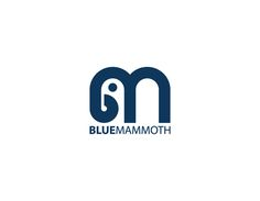 #Logo #design for Blue Mammoth with an icon made of the two initials forming a mammoth. Very smart - designed by duskbitz