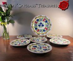 """Antique Stick Spatter Adam's Rose Rabbits Frog 6 Dinner Plates and 13"""" Charger #Unknown"""