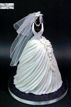 Wedding Dress Cake by Mladman Cakes Gorgeous Cakes, Pretty Cakes, Cute Cakes, Fancy Cakes, Yummy Cakes, Amazing Cakes, Wedding Dress Cake, Wedding Dresses, Brides Cake
