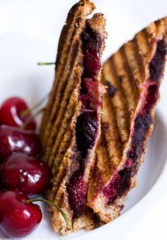 Vegan Smashed Chocolate Covered Cherry dessert panini combines the luscious flavor of fresh juicy cherries with creamy spreadable chocolate. Sometimes a simple, classic flavor combination can create a new recipe worth sharing, repeating and making your own.