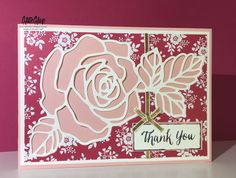 handmade thank you card ... luv this big rose thinlets die ... patterned paper background with solid color for the die cut ... Stampin' Up!