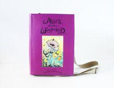 Alice in Wonderland Leather Book Bag by krukrustudio on Etsy