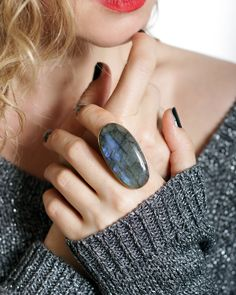 Black Agate Ring Healing Crystal Ring Adjustable Cabochon Striped Agate Semi Precious Stone Handmade Boho Jewelry Gift for Her Woman