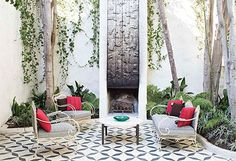 An oasis of calm | black and white geometric tile floor in outdoor courtyard / sfgirlbybay | photography courtesy of tile makes the room (from heath ceramic's new book, tile makes the room)