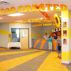 I love the idea of giant construction-paper letters spelling out a phrase for the main hallway. Join me at nancythompson.me for encouragement & Kidmin leadership!