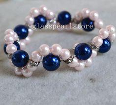 Pulsera de perlas color rosa y azul marino azul por glasspearlstore