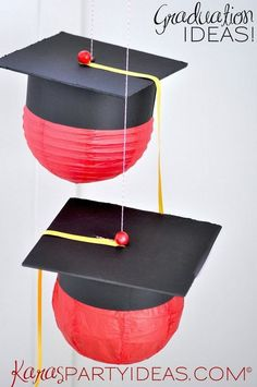 Graduation Cap Party Lanterns. Make these black graduation cap shaped hanging paper lanterns for your graduation decorations! This will be the perfect addition to your graduation party.