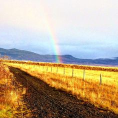 rainbow in the iceland countryside