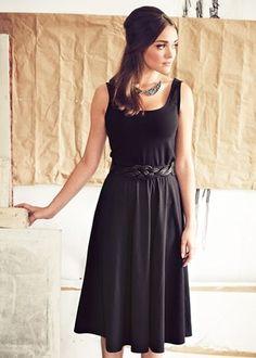 Skirts - Liz Black Flared Jersey Skirt