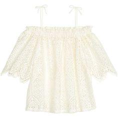 Off shoulder-bluse i blonde 349.- (42 TND) ❤ liked on Polyvore featuring tops, 3/4 sleeve blouse, off shoulder tops, lace blouse, off the shoulder tops and white 3/4 sleeve blouse