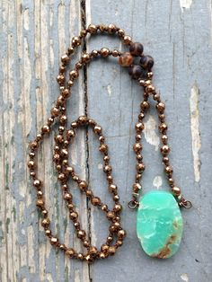 Boho Chrysoprase And Bronze Hematite Necklace Hand Knotted By SeeJanesBeads by SeeJanesBeads on Etsy