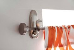 Curtain rod on command hooks... no holes no mess