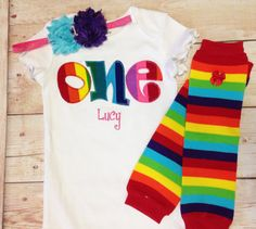 Rainbow Birthday One Outfit for Girls First by RightUpYourAli1