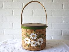Vintage 1970s Daisy Basket Purse - Hand Painted $30